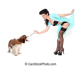 Pinup Girl Giving Saint Bernard a Treat - Cute Pinup Girl...