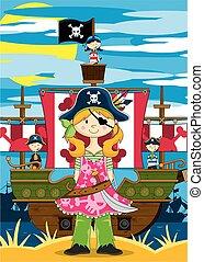 Cute Pirate Girl & Ship