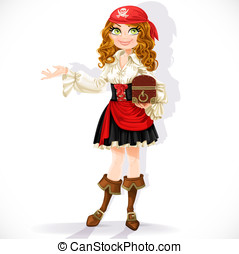 Cute pirate girl with chest isolated on a white background