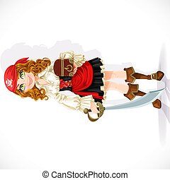 Cute pirate girl with cutlass and chest isolated on a white ...