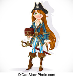 Cute pirate girl with cutlass, pistol and chest isolated on a white background