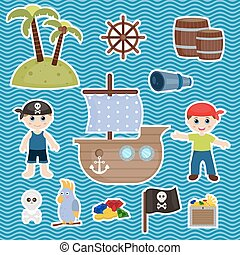 cute pirate objects - Set of cute pirate and pirate objects.