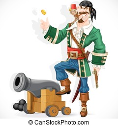 Cute pirate with monkey throw up golden coin stand on cannon...