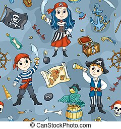 Cute pirates blue seamless pattern - Cute pirates seamless...
