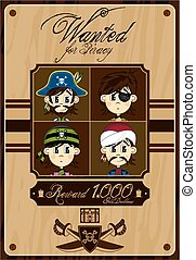 Cute Pirates Wanted Poster
