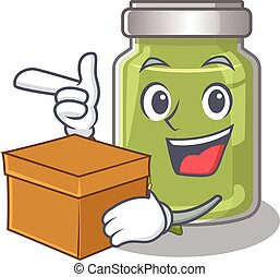 Cute pistachio butter cartoon character having a box