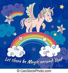 cute, plakat, regnbue, hils, baggrund, vektor, enhjørning, fairy, card