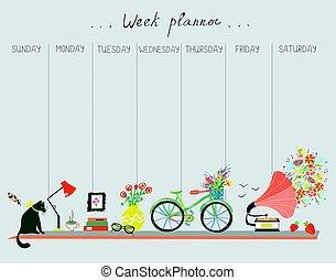 cute, planejador, desenho, semanal