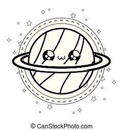 cute planet saturn in frame circular kawaii style