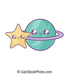 cute planet saturn with star kawaii style