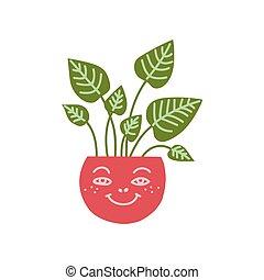 cute, planta, natural, casa, ilustração, elemento, decoração, crescendo, dieffenbachia, vetorial, desenho, interior, lar, pote
