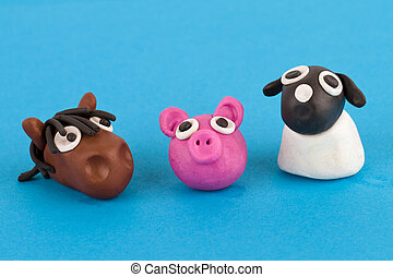 Cute plasticine farm animals collection - Pig, horse, sheep.