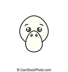 cute platypus wild animal line style icon