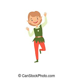 Cute playful boy in elf costume, little Santa Claus helper vector Illustration on a white background