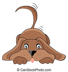 playful dog - Cute playful dog, vector illustration