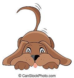 Cute playful dog, vector illustration