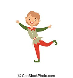 Cute playful little boy in elf costume vector Illustration on a white background