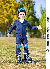 Cute playful skater boy