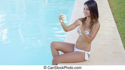 Cute playful young woman posing for a selfie - Cute playful...