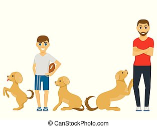 Cute playing dog character funny purebred puppy comic happy mammal breed animal character vector illustration.