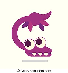 Cute Plesiosaur swimming. Dinosaur life. Vector illustration of prehistoric character in flat cartoon style isolated on white background. Funny pink Plesiosaurus. Element for design.