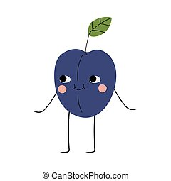 Cute Plum, Cheerful Fruit Character with Funny Face Vector Illustration