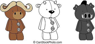 cute plush animals kawaii style cartoons collection set