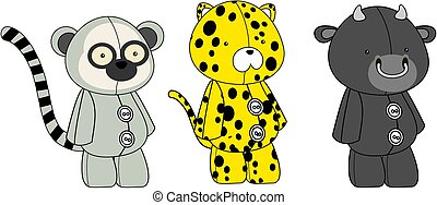 plush animals toy kawaii style cartoons collection set