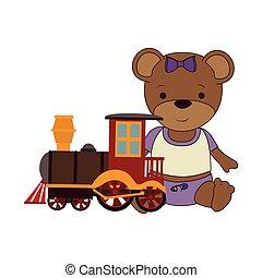 cute plush doll with train icon