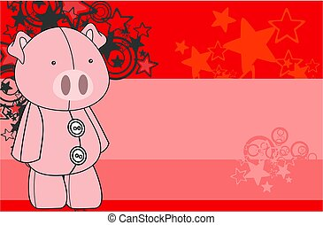cute plush pig toy kawaii style cartoons background in...