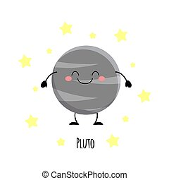 Kawaii Pluto planet with the happy fase. Planet characters vector illustration isolated on white background.