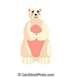 cute polar bear cartoon animal icon isolated design