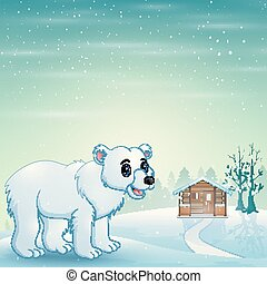 Cute polar bear cartoon in the winter background
