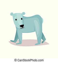 Cute polar bear cub cartoon vector Illustration