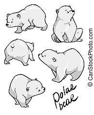 Cute polar bear. Flat hand drawn vector design. Cartoon illustration.
