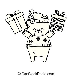 cute polar bear hands up with gifts merry christmas thick line