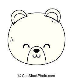 cute polar bear head on white background thick line