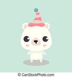 Cute Polar Bear in top hat.