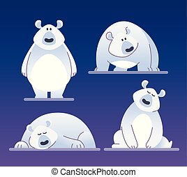 Cute polar bear - modern vector cartoon characters...