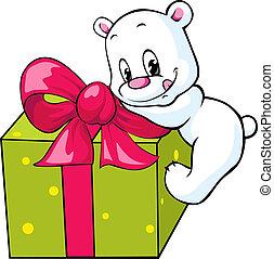 cute polar bear unwrapping gift