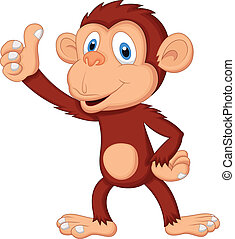 cute, polegar, abandone, caricatura, macaco