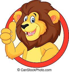 cute, polegar, abandone, leão, caricatura