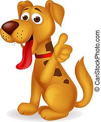 cute, polegar cima, cão