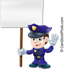 Cute police man with sign illustrat - Illustration of a cute...