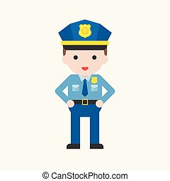cute policeman character, professional set, flat design
