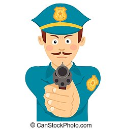 Cute policeman with mustache holding a gun in one hand aiming at you