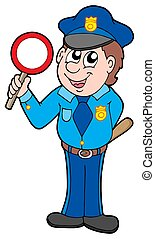 Cute policeman with stop sign - isolated illustration.