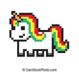 Cute Pony, Pixel Horse Isolated on White Backdrop