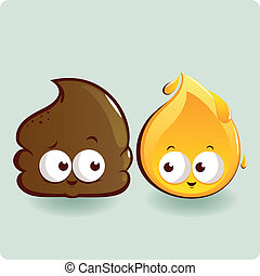 Cute poop and pee characters - Two cute characters...