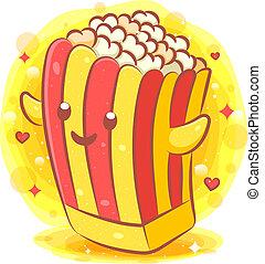 Cute pop corn kawaii cartoon character